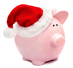 Piggy-bank with a Christmas hat.